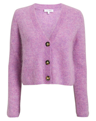 Priscilla Cropped Cardigan, PURPLE, hi-res
