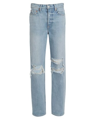 Mica Distressed High-Rise Jeans, MEDIUM WASH DENIM, hi-res