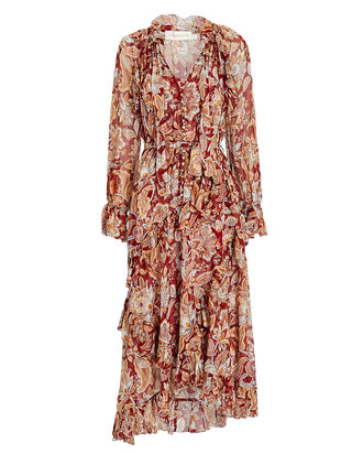 Lucky Ruffled Floral Midi Dress, BURGUNDY/BEIGE, hi-res