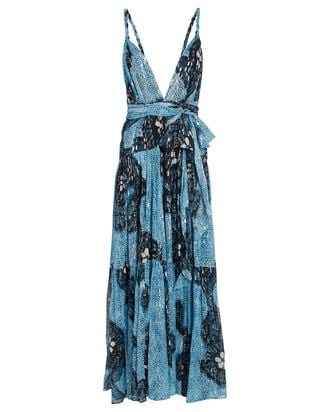 Kemala Floral Silk Chiffon Dress, BLUE/BLACK, hi-res