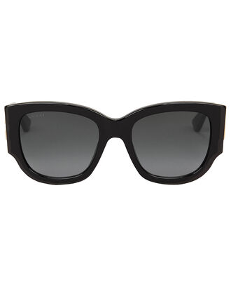 Wayfarer Oversized Striped Sunglasses, BLACK, hi-res