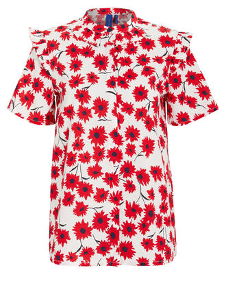 Naia Flower Blouse, RED/WHITE, hi-res
