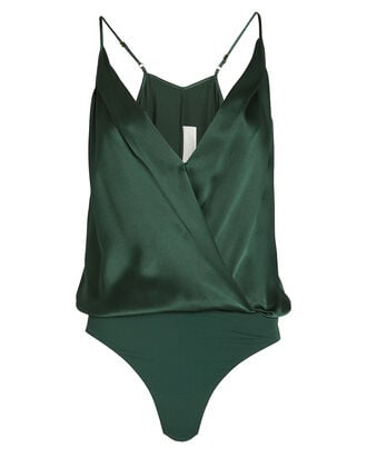 Silk Charmeuse Wrap Bodysuit, GREEN, hi-res