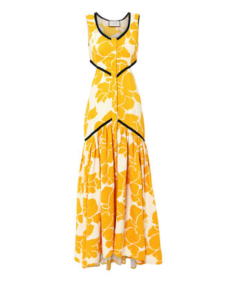 Cutout Floral Midi Dress, YELLOW, hi-res