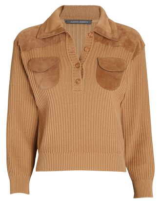 Suede-Trimmed Knit Polo Top, BEIGE, hi-res