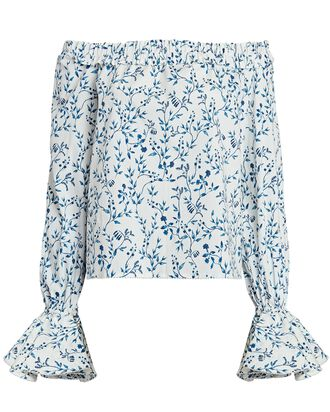Pina Off-the-Shoulder Floral Blouse, WHITE/BLUE, hi-res