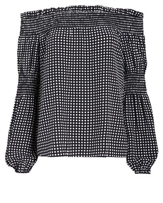 Mona Smocked Gingham Blouse, BLACK/WHITE GINGHAM, hi-res