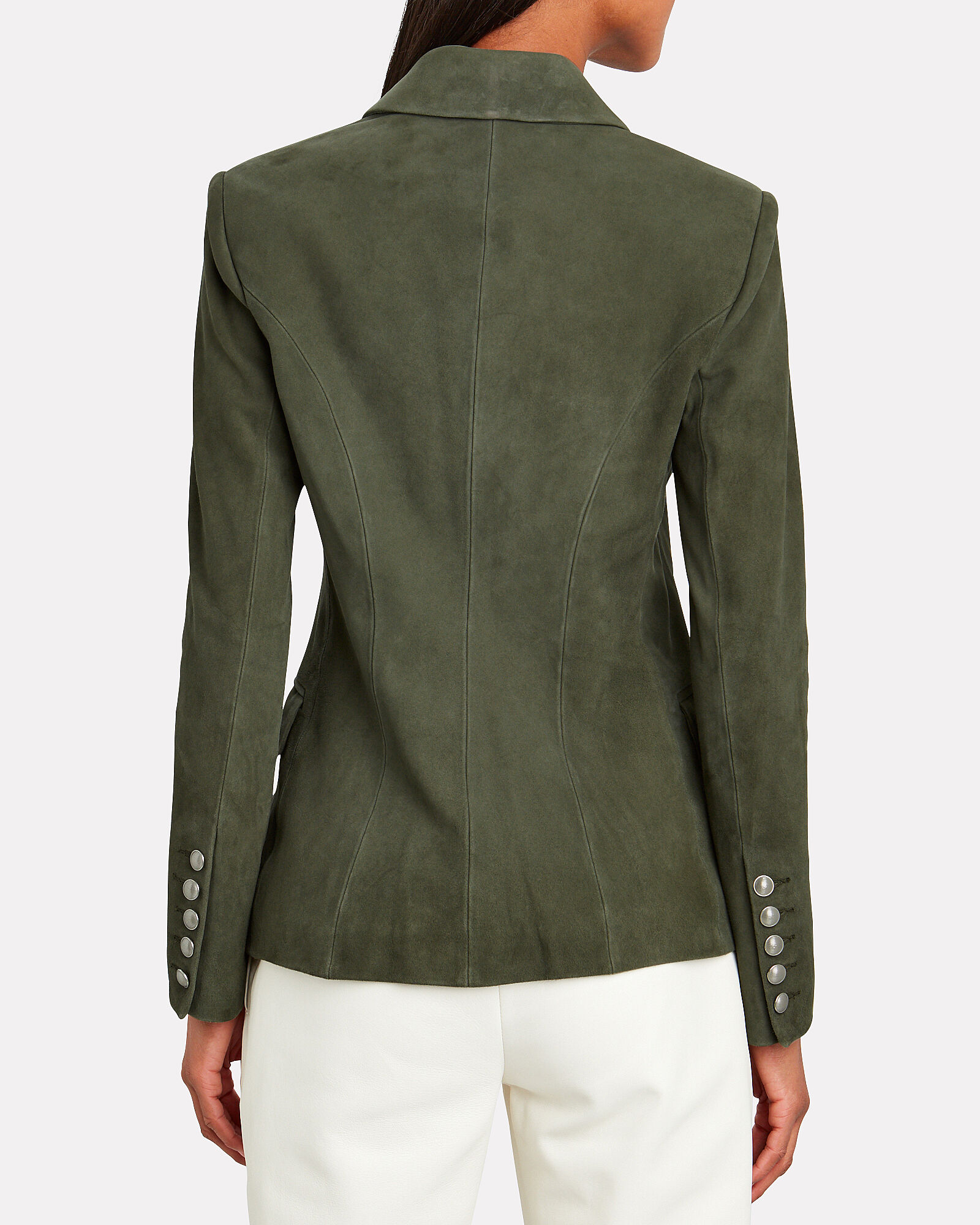 Kenzie Double-Breasted Suede Blazer, OLIVE, hi-res