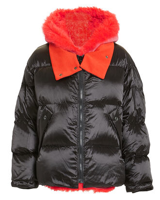 Orange Shearling Trim Puffer Jacket, BLACK/ORANGE, hi-res
