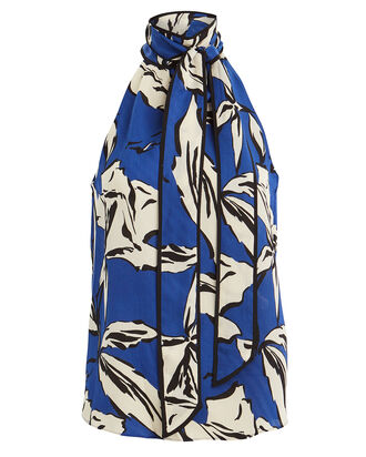 Sela Floral Tie Neck Top, BLUE/FLORAL, hi-res