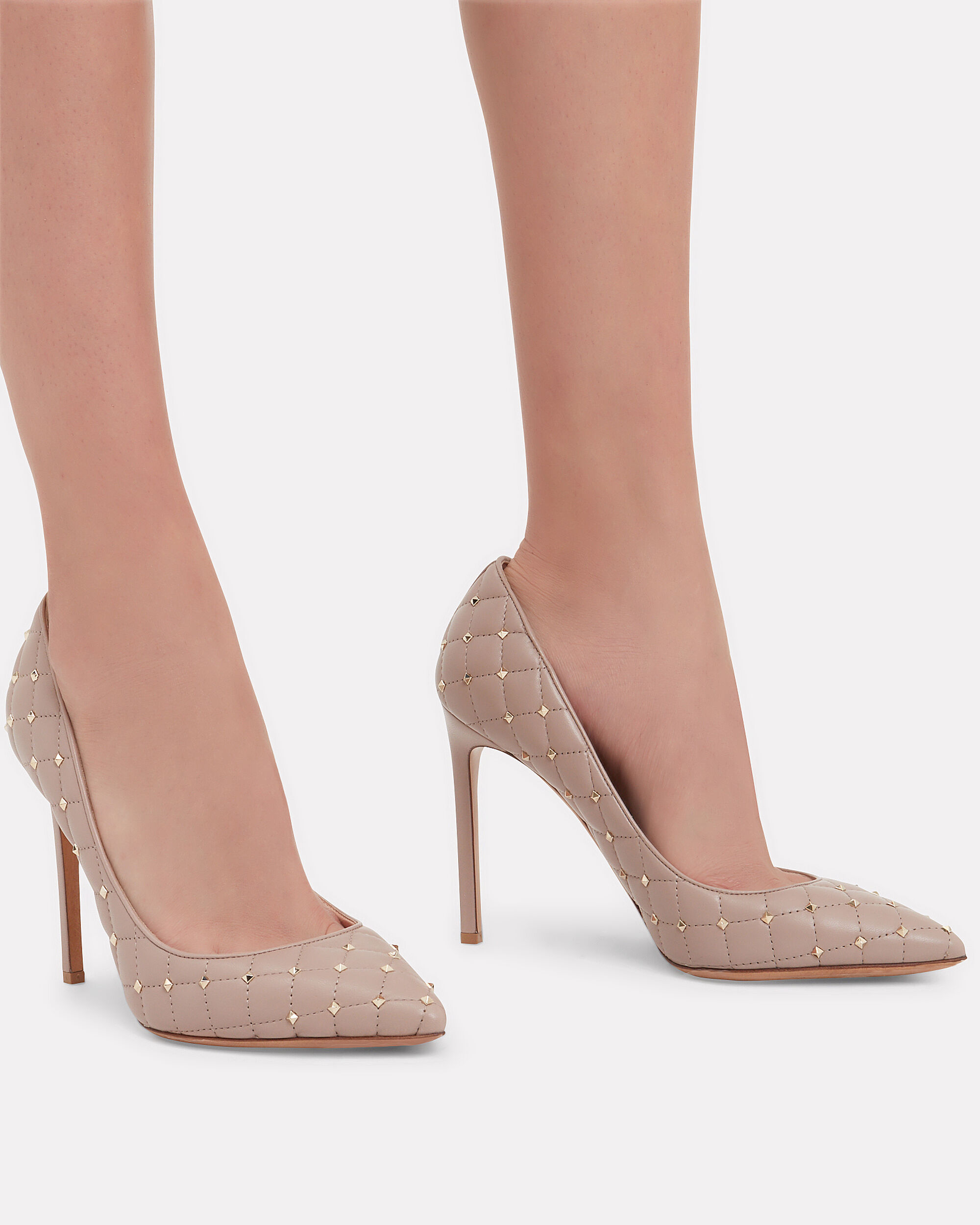 Quilted Rockstud Pumps, BEIGE, hi-res