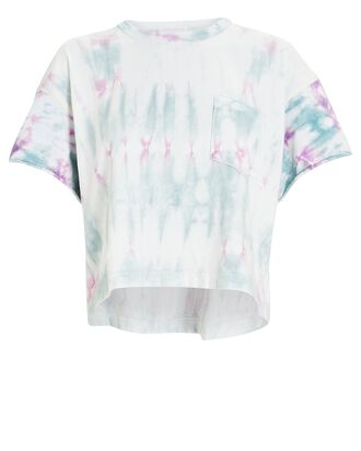 Tie-Dye Cotton T-Shirt, WHITE/GREEN/PURPLE, hi-res