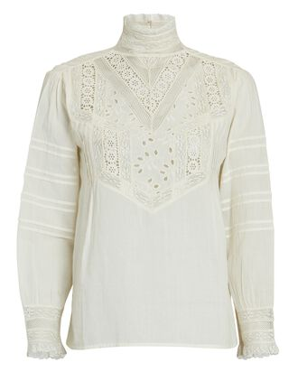 Evie Embroidered Cotton Blouse, IVORY, hi-res