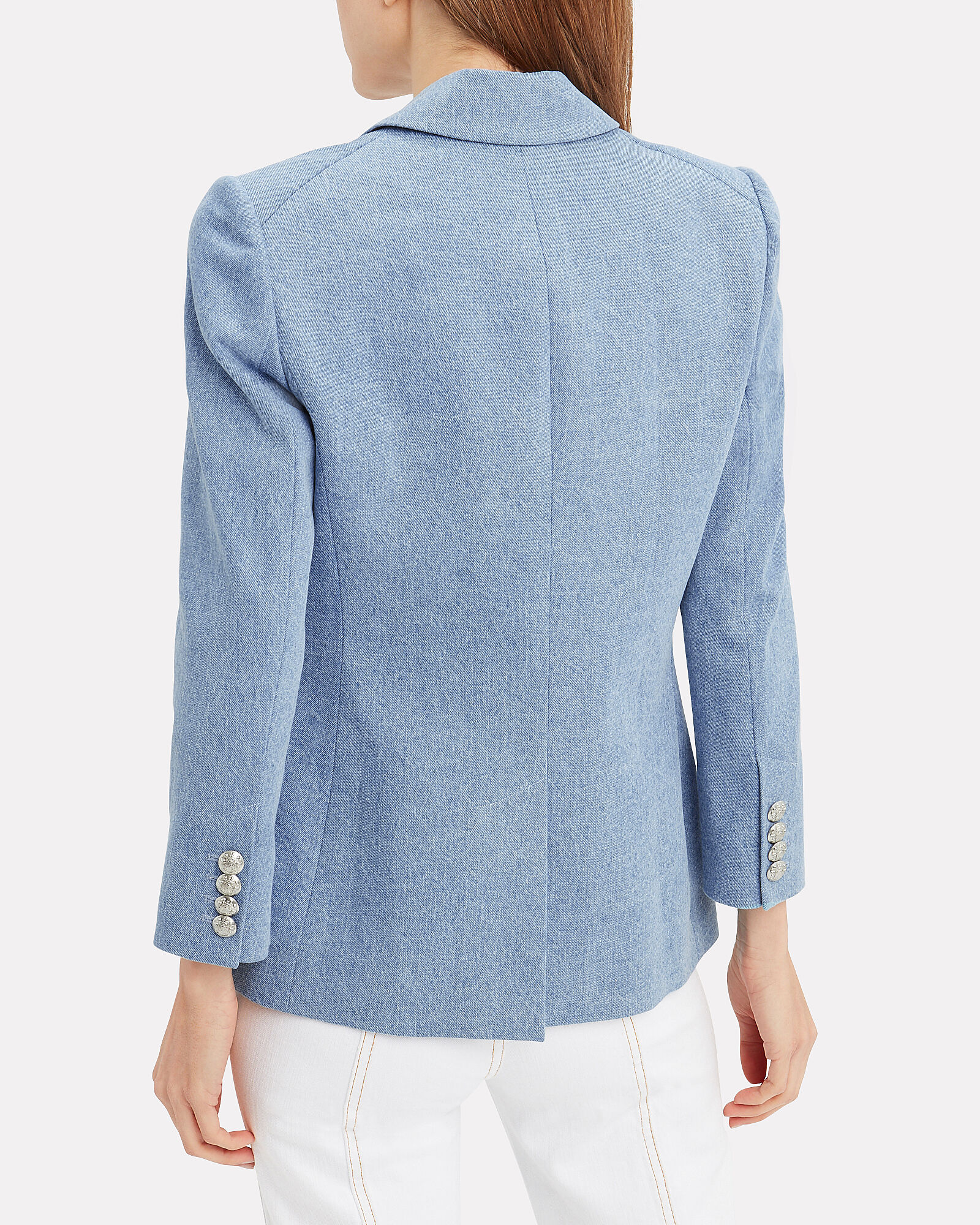 Empire Double Breasted Denim Blazer, CHAMBRAY BLUE, hi-res