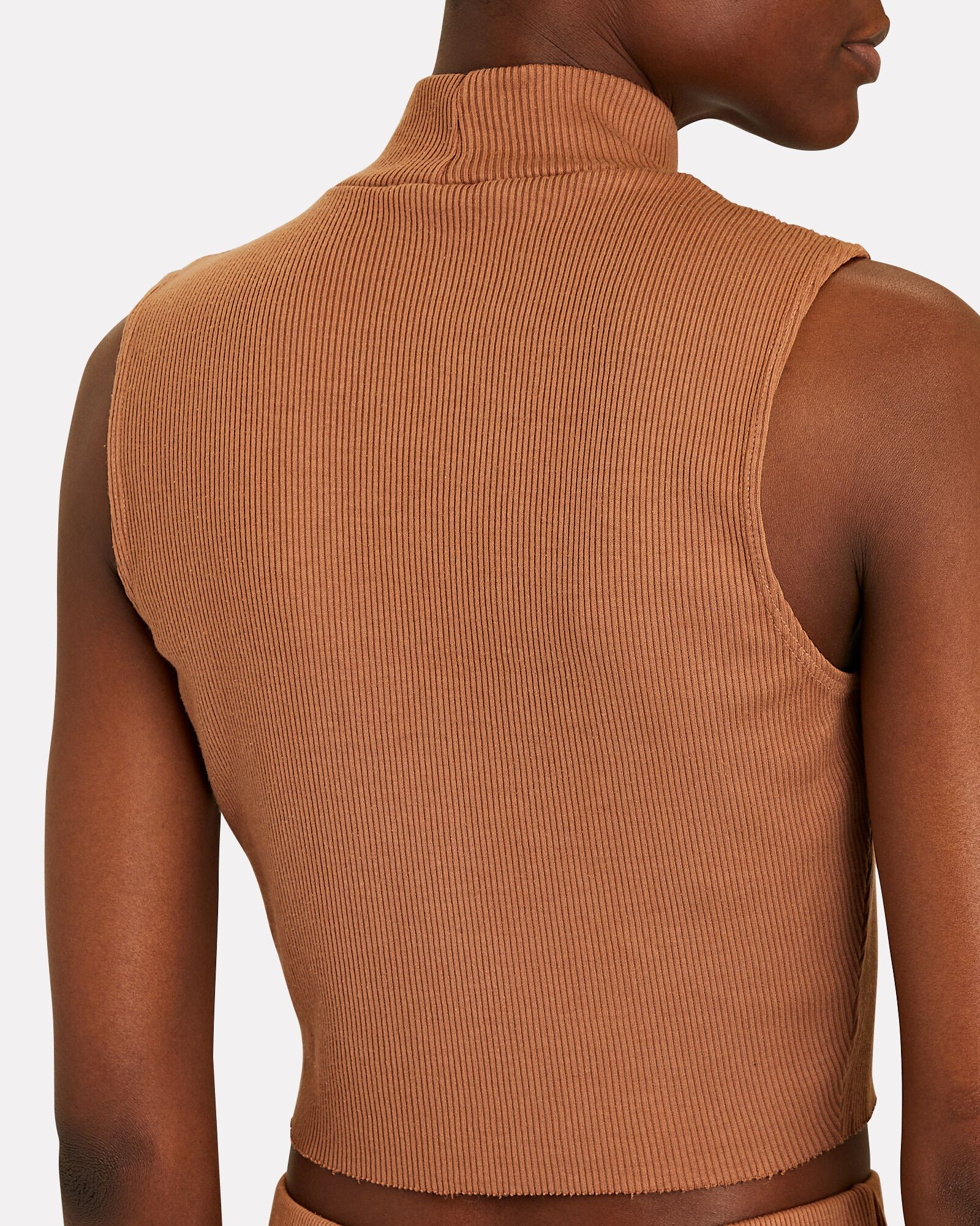 Cropped Sleeveless Mock Neck Top, BROWN, hi-res