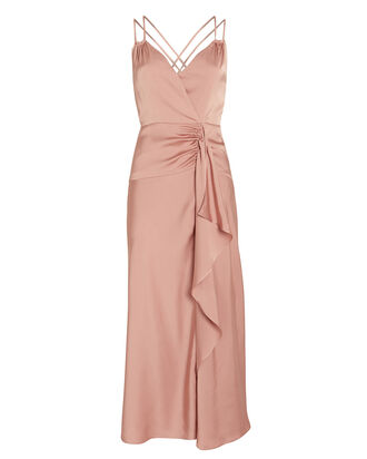 Fabienne Silk Satin Midi Dress, PINK, hi-res