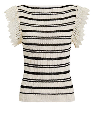 Crochet Detail Striped Knit Top, IVORY/BLACK, hi-res