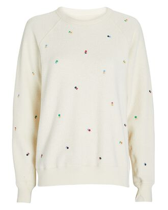 The College Embroidered Sweatshirt, WHITE, hi-res