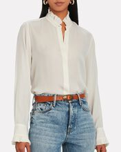 Aleia Ruffled Silk Button-Down Shirt, IVORY, hi-res
