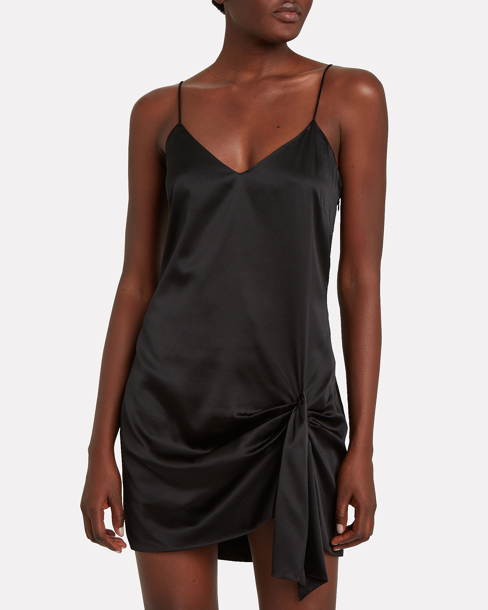 Koren Draped Slip Dress, BLACK, hi-res