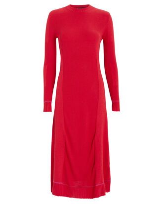 Silk Cashmere Rib Knit Dress, RED, hi-res