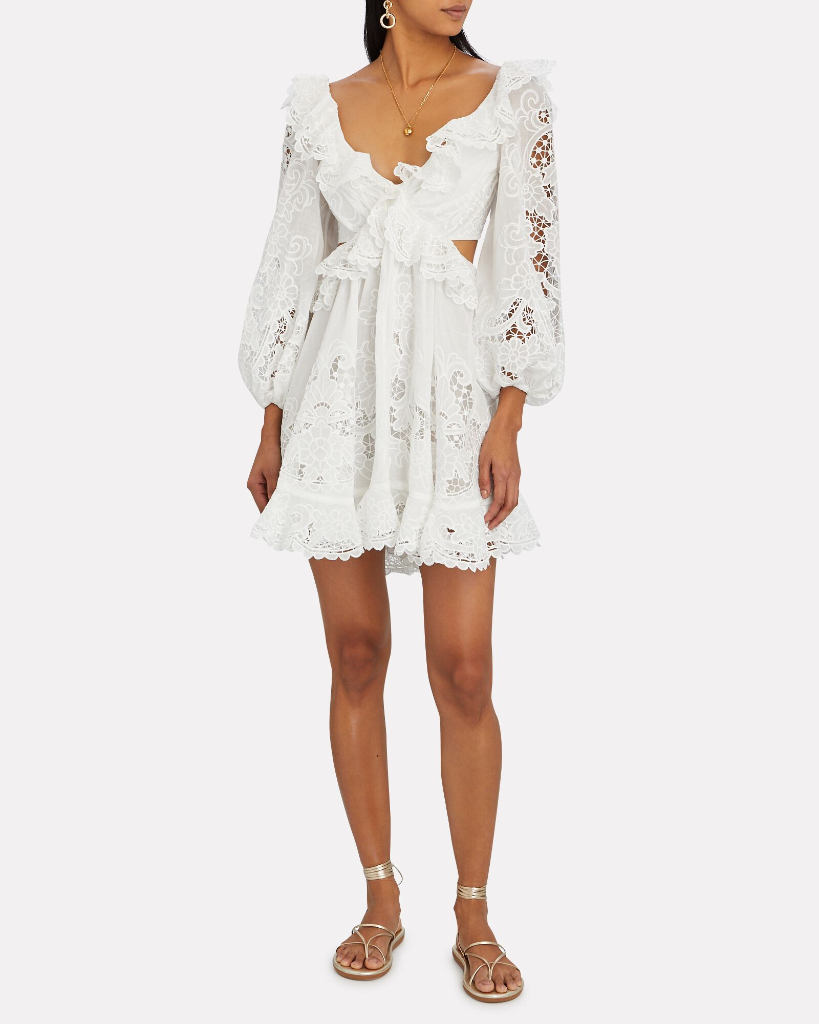 Lulu Ruffled Cut-Out Mini Dress, IVORY, hi-res
