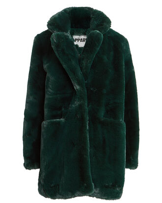 Sophie Faux Fur Coat, GREEN, hi-res
