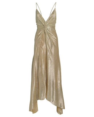 Supernova Twist Front Metallic Gown, GOLD/METALLIC, hi-res