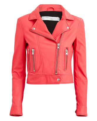 Hartley Leather Moto Jacket, CORAL, hi-res