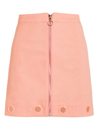Crème Puff Denim Mini Skirt, PINK, hi-res
