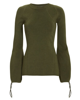 Ballooned Cuffs Ribbed Sweater, OLIVE/ARMY, hi-res