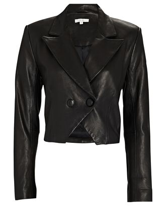Cropped Double-Breasted Leather Blazer, BLACK, hi-res