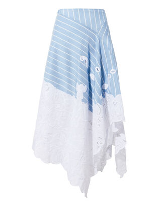 Lace Hem Striped Skirt, BLUE-MED, hi-res