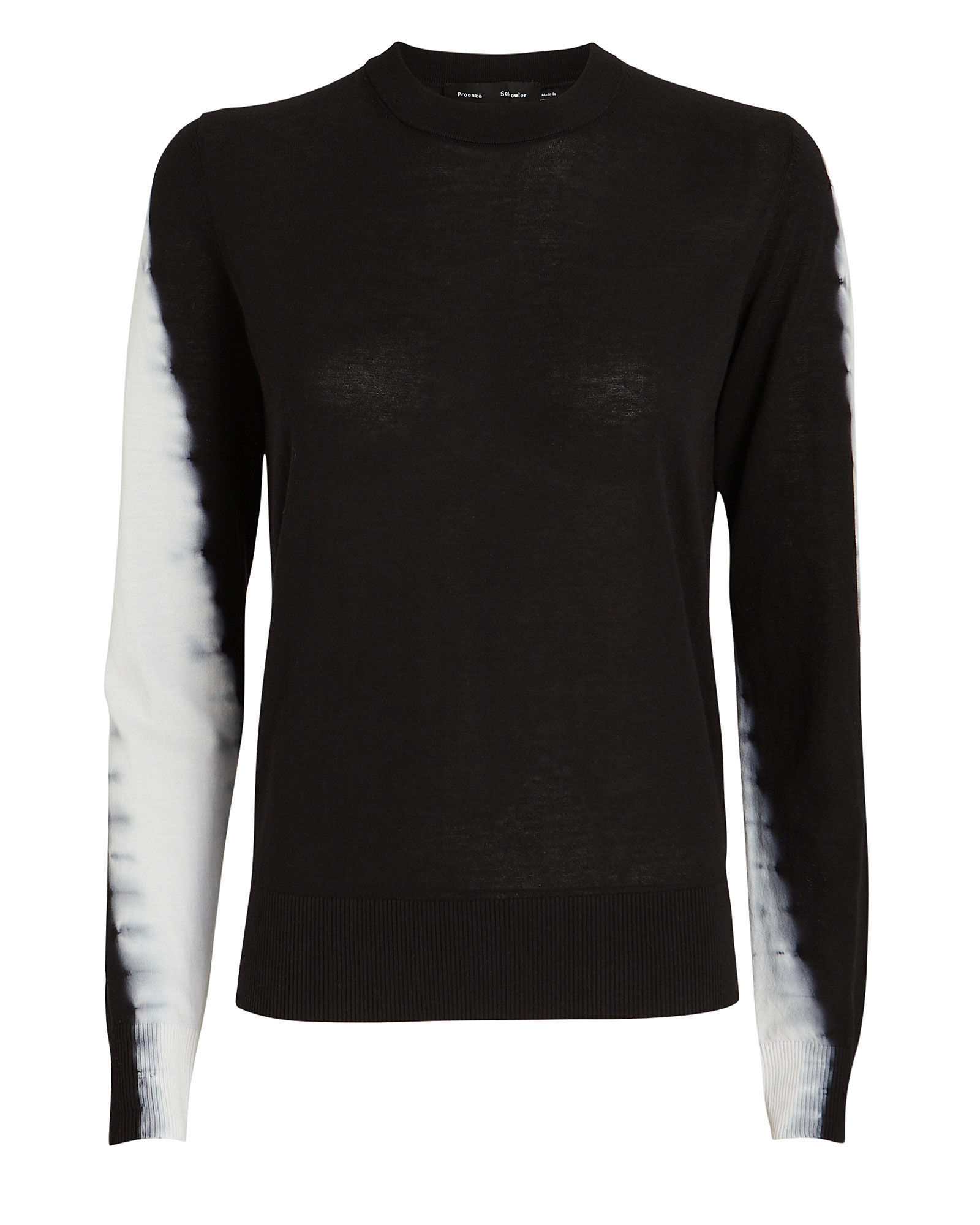Tie-Dye Crewneck Sweater, BLACK/WHITE, hi-res