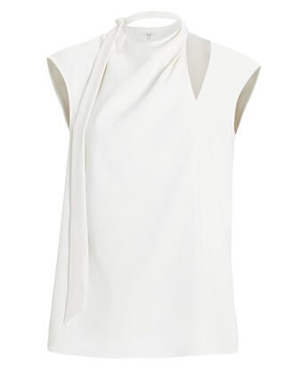 Draped Tie Blouse, WHITE, hi-res
