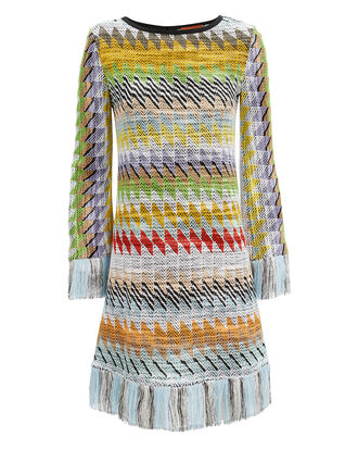 Fringed Zig Zag Print Dress, WHITE/GREEN/YELLOW, hi-res