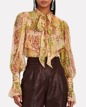 Tie-Neck Spotted Silk Chiffon Blouse, MULTI, hi-res