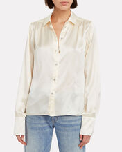 Neveah Silk Button Down Blouse, IVORY, hi-res