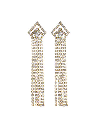 Vionnet Crystal Fringe Earrings, CLEAR, hi-res