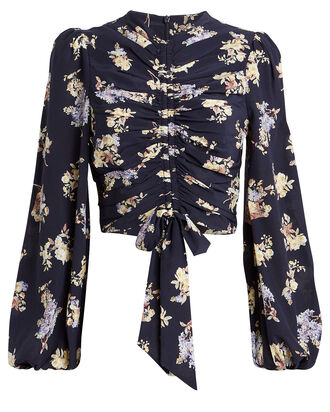 Sabotage Cropped Silk Blouse, NAVY/FLORAL, hi-res