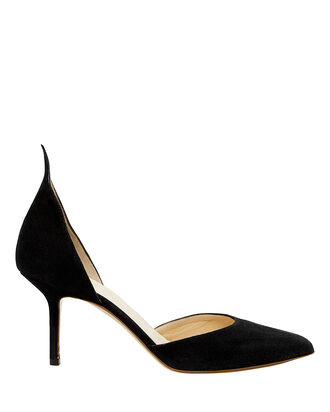 "Point Back Suede 3"" Pumps, BLACK, hi-res"