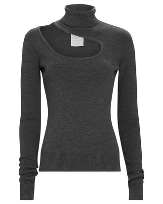 Cut-Out Merino Wool Turtleneck Top, GREY, hi-res