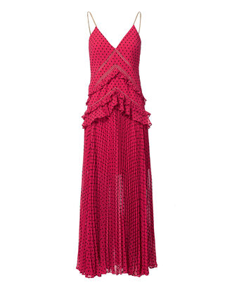Fuchsia Plumetis Paneled Midi Dress, PINK-DRK, hi-res