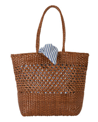 Maya Striped Insert Woven Tote, BROWN, hi-res