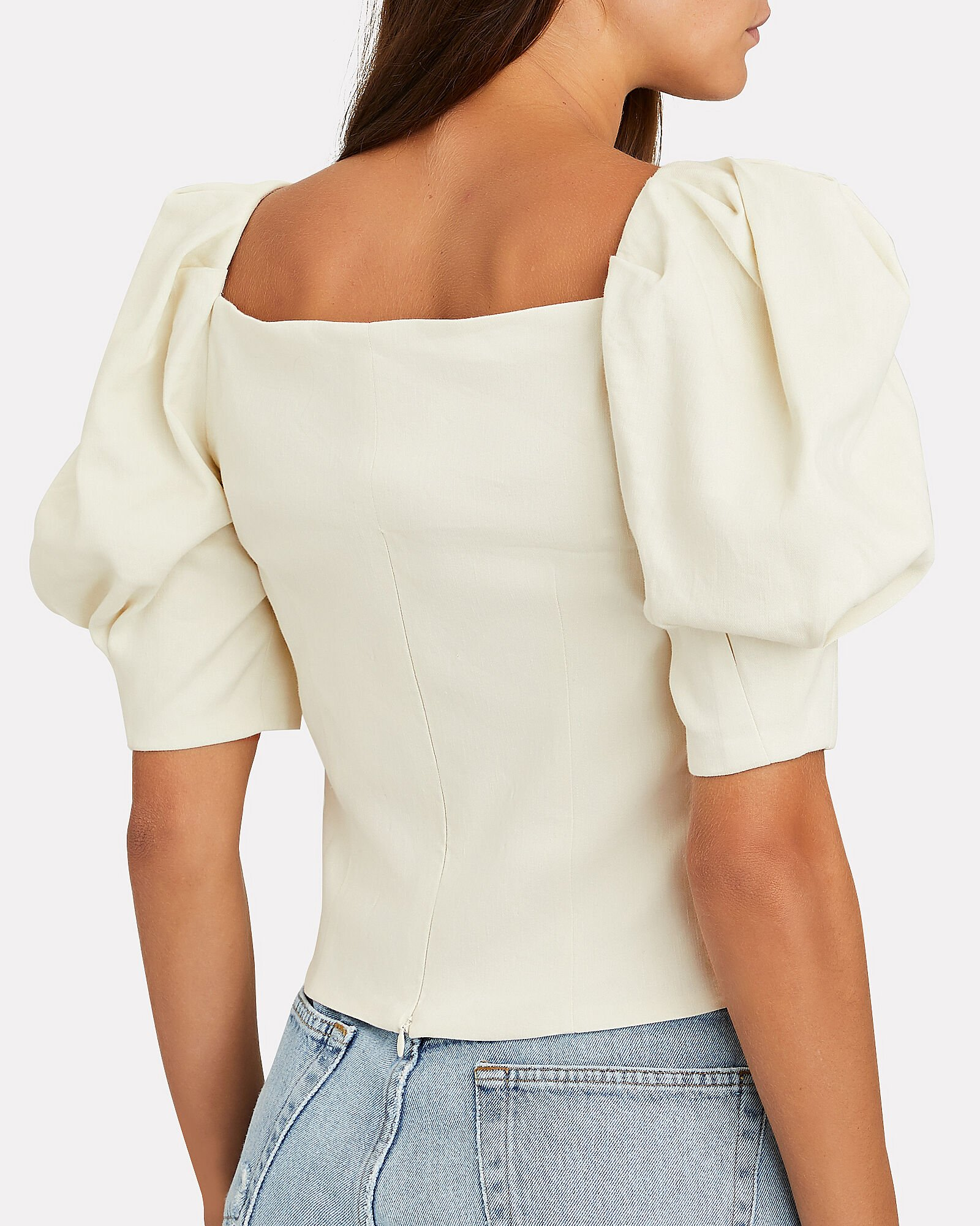 Layla Puff Sleeve Crop Top, IVORY, hi-res
