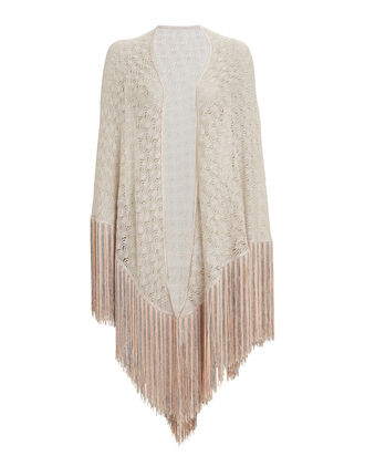Metallic Triangle Fringe Shawl, GOLD/BLUSH, hi-res