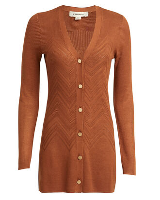 Millie Chevron Cardigan, CINNAMON, hi-res