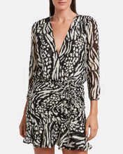 Kiran Silk Animal Print Mini Dress, BLACK/IVORY, hi-res