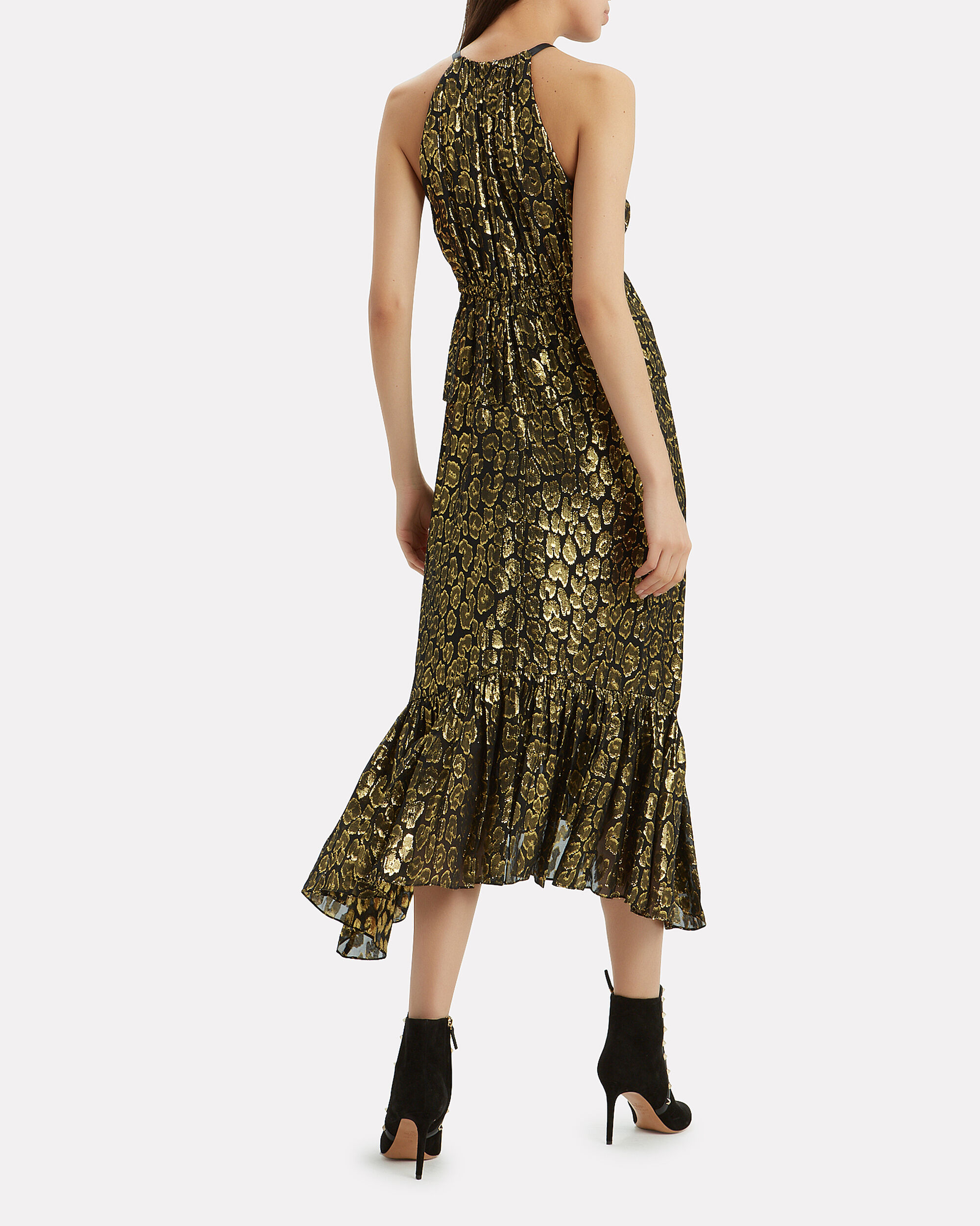 Rosa Golden Leopard Midi Dress, BLACK/GOLD, hi-res