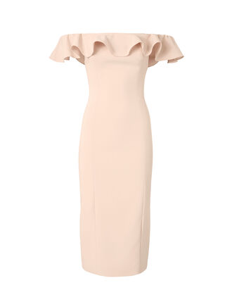 Rollins Off Shoulder Midi Dress, NUDE, hi-res